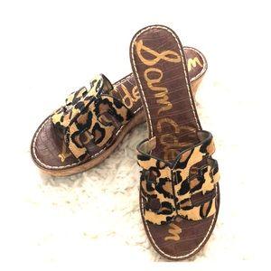 Sam Edelman Regis platform leopard wedge sandal 9m